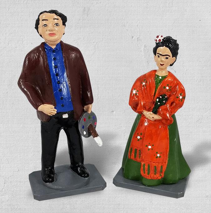 Esculturas de cerâmica Frida e Diego Rivera